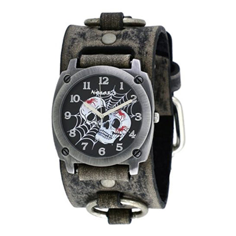 Black Web of Skulls Watch with Faded Black Ring Leather Cuff Band 931FRB-K