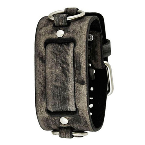 Faded Grey Leather Ring Cuff Watch Band 20mm FRB