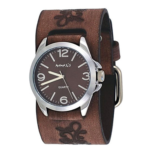 Nemesis #BVF221B Floral Brown Wide Leather Band Brown Dial Analog Watch