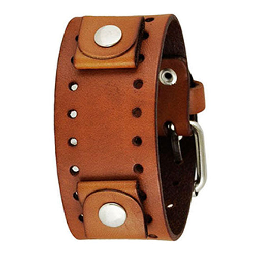 Basic Brown Leather Cuff Watch Band 20mm BB