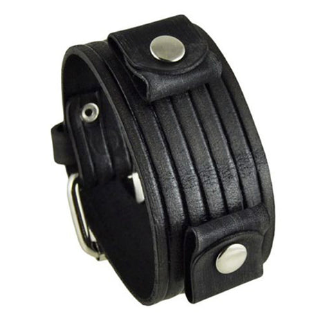 Black Vintage Embossed Stripes Leather Cuff Band VEB