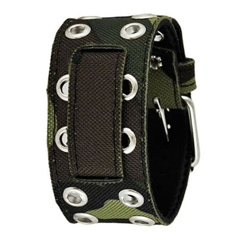 Green Eyelet Camouflauge CanvasLeather Cuff Watch Band 20mm AEBL