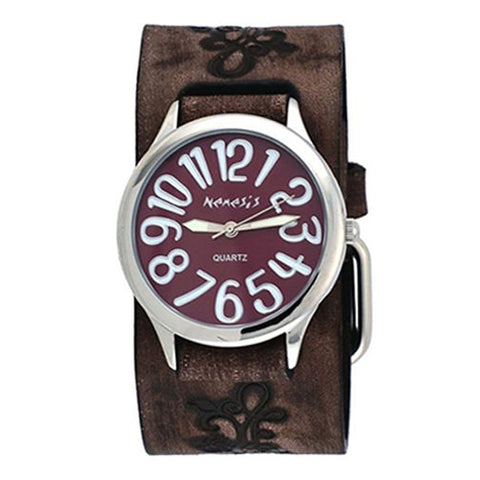 Nemesis BVFB108B Floral Faded Brown Wide Leather Band Crazy Brown Dial Watch