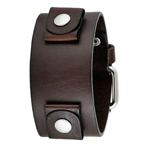 Basic Junior Size Dark Brown Leather Cuff Watch Band 20mm DBGB