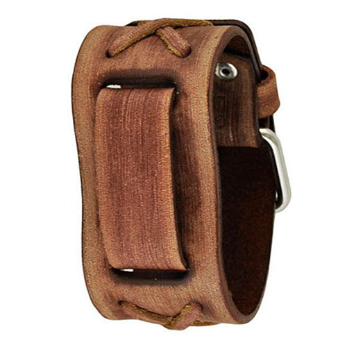 Junior Size Faded Light Brown X Leather Cuff Watch Band 20mm BSFX