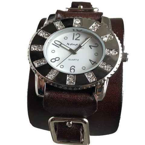 311B2BL Nemesis LadiesTrendy watch with brown leather cuff band
