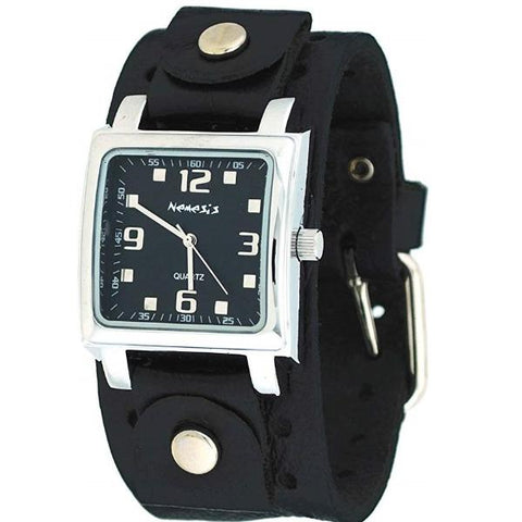 Black Lite SQ Watch with Black Leather Cuff Band B516K