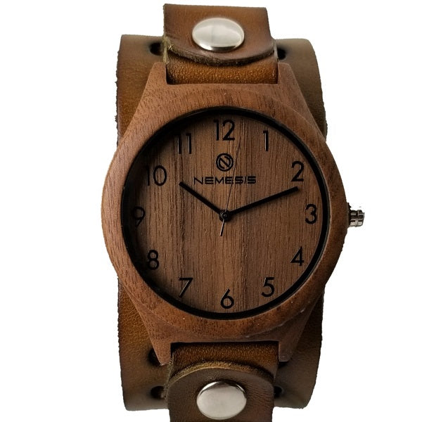 BB266B Nemesis wood case watch with Vintage leather cuff band