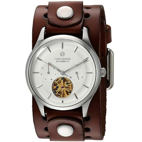 BB510S white Nemesis Mechanical Tourbillon Auto winding Stainless steel 5 ATM watch resistant with dark brown leather cuff watch band.