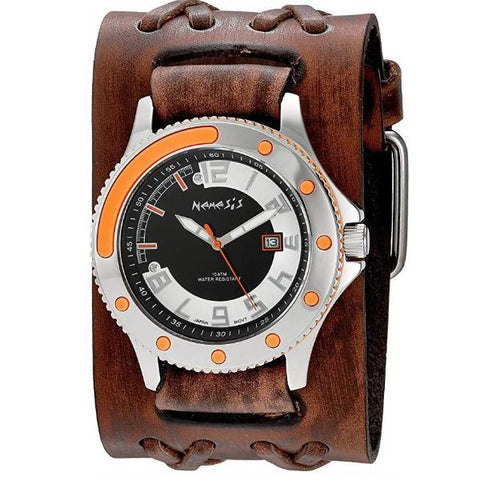 Orange/Black Men's Sporty Watch with Faded Brown Double X Wide Leather Cuff Band BVDXB105N