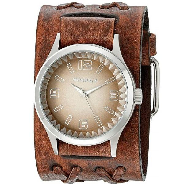 White/Brown Gradient Pointium Watch with Faded Brown Double X Wide Leather Cuff Band BVDXB217B