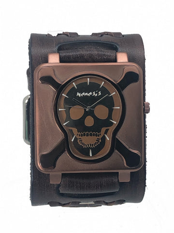 Brown Cross Bones Skull Watch with Wide Faded Brown Double X Leather Cuff Band BVDXB930B