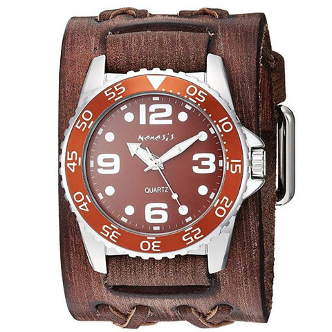 Brown Groovy Watch with Wide Faded Black Double X Leather Cuff Band VDXB097B