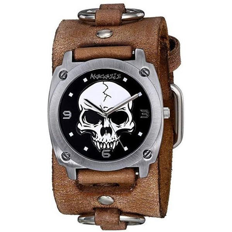 Black Heavy Duty Skull Watch with Faded Black Leather Ring Cuff Band BFRB926K