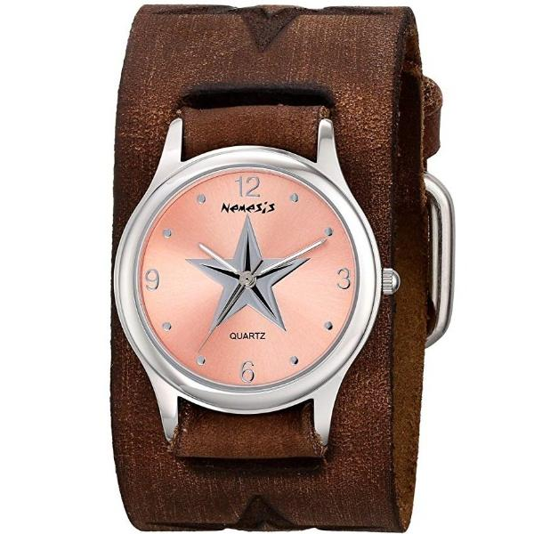Pink Vintage Punk Rpck Star Watch with Faded Brown Embossed Star Leather Cuff Band 355BFST-P