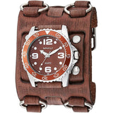 BFWB097B Nemesis  Groovy Brown Men's Watch with Vintage 3 straps detailed wide Leather Cuff Band