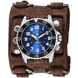 BFWB257LNemesis super night grow dial diver watch with Vintage leather detail 3 strip cuff band