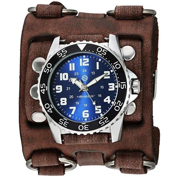 BFWB257L Nemesis super night grow dial diver watch with Vintage leather detail 3 strip cuff band