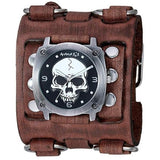 Black Heavy Duty Skull Watch with Faded Brown Wide Detail Leather Cuff Band BFWB926K