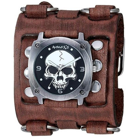 Black Heavy Duty Skull Watch with Faded Black Wide Detail Leather Cuff Band BFWB926K