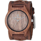 BFXB260B Nemesis natural wood case watch with 1.5 inches wide Vintage Brown X Leather cuff band