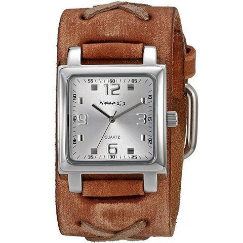 Silver Lite SQ Watch with Faded Brown X Leather Cuff Band 516BFXBS-S