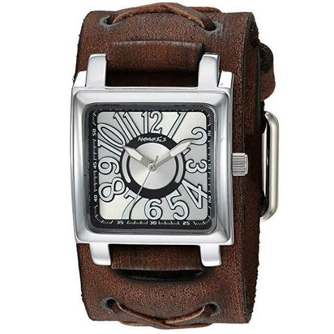 Nemesis Unix square case 3 D dial watch with Brown Vintage x cuff leather band BFXB256S