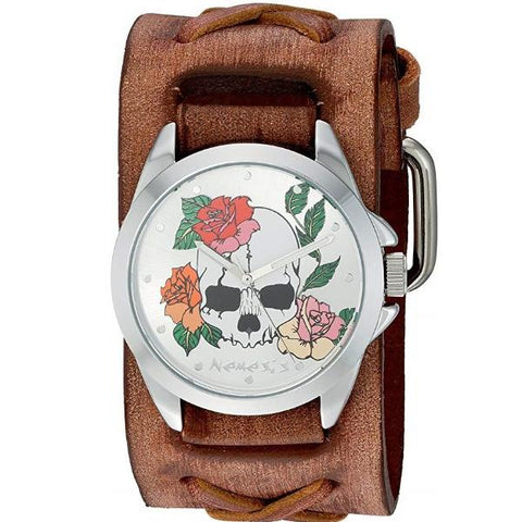 Silver Skull and Roses Watch with Junior Faded Light Brown X Leather Cuff Band BSFX933S