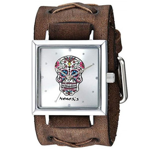 Silver Sugar Skull Square Watch with Faded Brown Leather Cuff Band BFXB955S