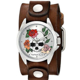 Silver Skull and Roses Watch with Faded Brown Junior Leather Cuff Band BFGB933S