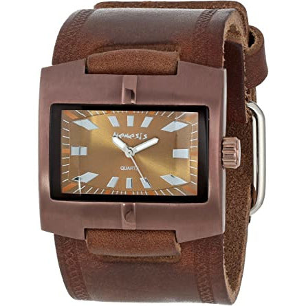 Brown Racing Sport Unisex Watch Faded Brown X Leather Cuff Band BHST060B