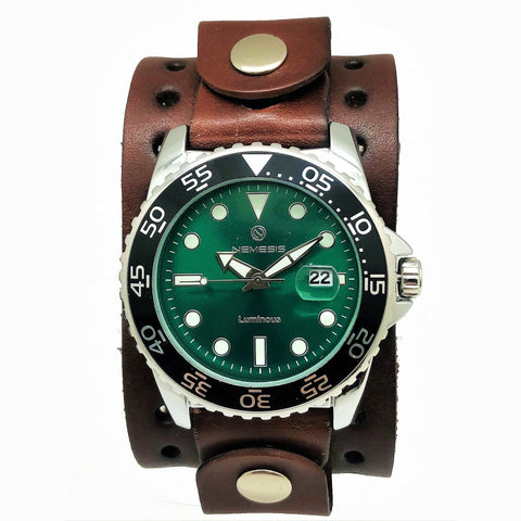 DJB Nemesis luminous night vision dinving watch with Dark brown 1.75 wide leather cuff band DJB277G
