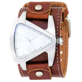 Nemesis BLBB011S teardrop men's triangle stainless steel watch with Brown leather cuff band