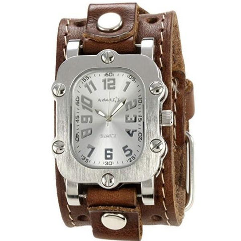 Silver Rugged Watch with Brown Single Stitched Leather Cuff Band BSTH007S