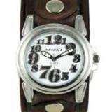 White Trendy Watch with Brown Vintage Embossed Striped Leather Cuff Band BVEB069W