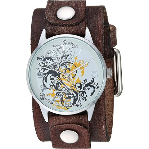 Yellow Plant Art Watch with Small Brushed Brown Leather Cuff Band VGB827N