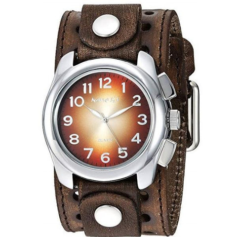 Black Oval Gradient Watch with Brown Vintage Black Leather Cuff Band BVSTH091B