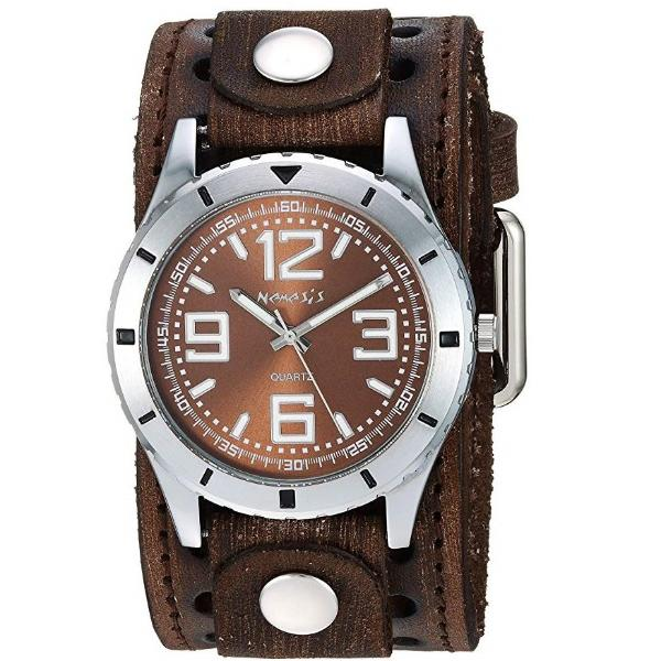 BVSTH096B Sporty Racing Watch with Brown  Vintage Leather Cuff Band