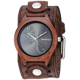 BVSTH261L Nemesis Nature wood case with Lizard dial watch in Vintage leather cuff band