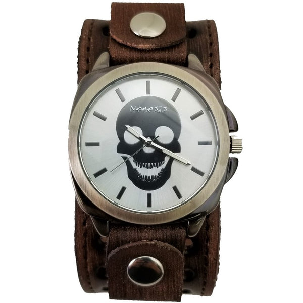 Skull Head Watch with Faded Leather Cuff Band BVSTH395S