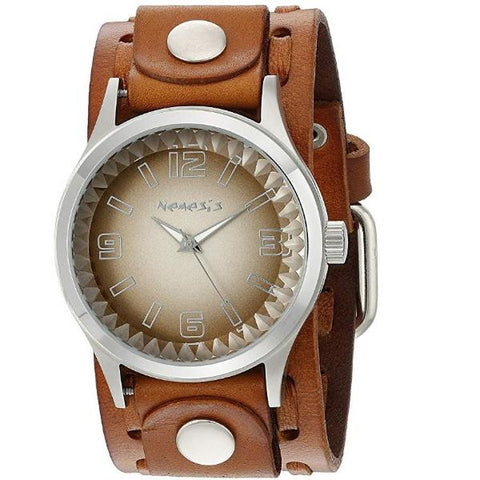 LBWTK217B Brown/White Gradient Pointium Watch with Brown Wide Weaving Leather Cuff Band