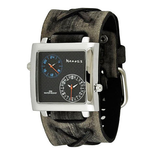 Black/Blue Dual Time SQ Men's Watch with Faded Grey X Leather Cuff Band FXB220L