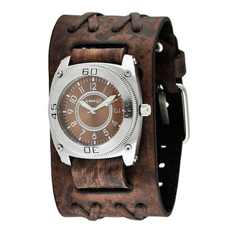 Brown Mix & Match Men's Watch with Faded Brown Wide Double X Leather Cuff Band BVDXB012B