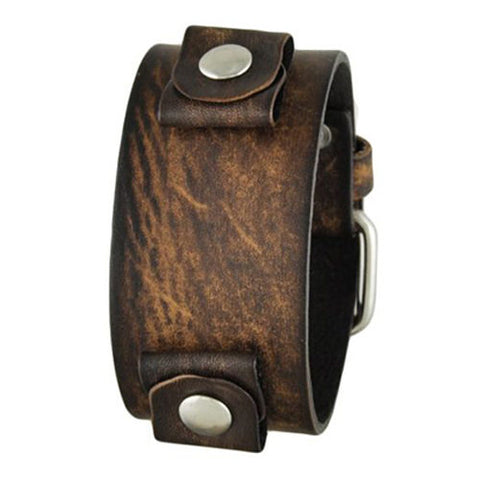 Brown 'Burned' Style Junior Size Leather Cuff Band BBGB
