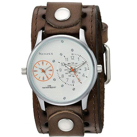 CSTH219S Silver/Orange Dual Time RD with Leather Cuff Band