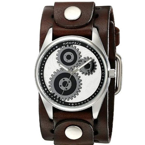 Silver Geared Watch with Basic Dark Brown Leather Cuff Band DB112S