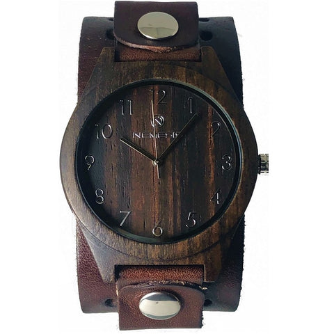 DB266B Nemesis wood case watch with Vintage leather cuff band