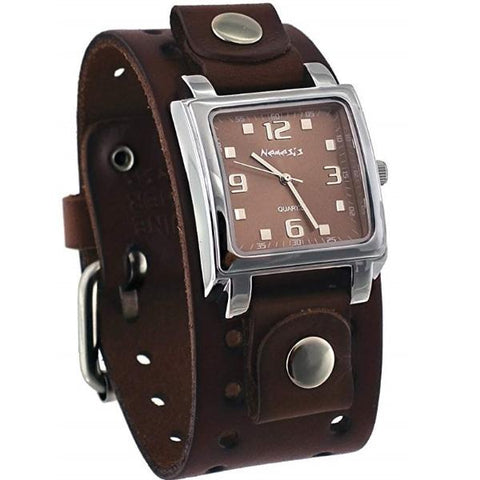 Brown Lite SQ Watch with Brown Leather Cuff Band 516BB-B