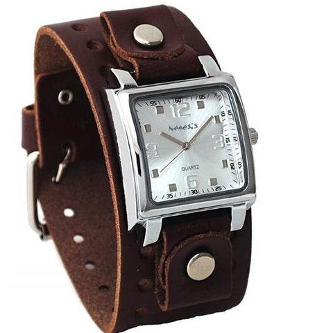Silver Lite SQ Watch with Brown Leather Cuff Band DB516S