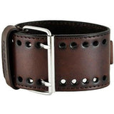 Nemesis embossed 3 D watchwith dark brown wide leather cuff band DLBB107S